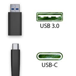 USB 3.0 and USB-C connectors