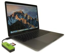 Thumbnail of Image of the Plugable USBC-FLASH3 plugged into a MacBook