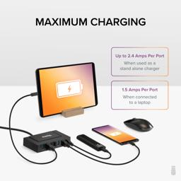 Thumbnail of A phone, tablet, mouse, and other devices connected to the Hub for charging. Maximum charging rate is 2.4 Amps per port when used as a standalone charger or 1.5Amps per port when connected to a laptop.