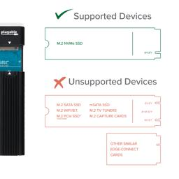 Thumbnail of Infographic showing the compatible M.2 NVMe SSD compared to incompatible SSDs and products