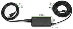 Thumbnail of Image displaying the dimensions of the Plugable Power Delivery adapter, its USB-C cable, and its AC plug