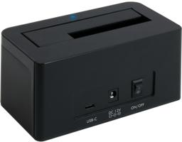 Thumbnail of USBC-SATA-V rear view showing the USB-C input, DC 12V input, and power switch