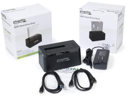 Thumbnail of Image of the USBC-SATA-V box ( front and back ) with the included cables, power supply, and Quick Start Guide