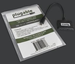 USBC-SATA24 with packaging, plastic zip-top bag with Plugable logo and product features