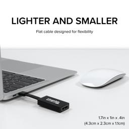 Thumbnail of Image of the Plugable USB-C to DisplayPort adapter plugged into a laptop