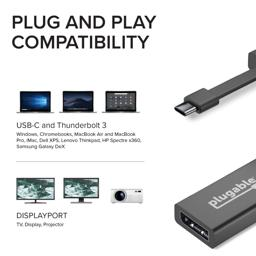 Thumbnail of Image indicating that the Plugable adapter is compatible with USB-C and Thunderbolt 3 systems and all DisplayPort accessories