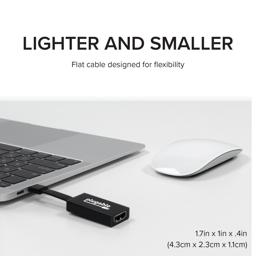 Thumbnail of Image of the Plugable USB-C to HDMI adapter plugged into a laptop