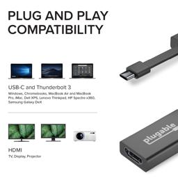 Thumbnail of Image indicating that the Plugable adapter is compatible with USB-C and Thunderbolt 3 systems and all HDMI accessories