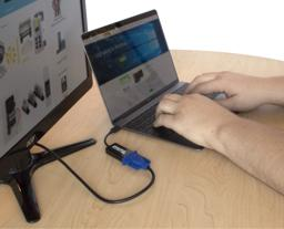 Thumbnail of Image of the Plugable graphics adapter in use, connecting a laptop to a secondary display